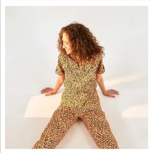NWT Farm Rio Leopard Pop Denim Jumpsuit